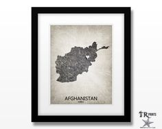 Afghanistan Map Art Print - Home Is Where The Heart Is Love Map - Original Custom Map Art Print Available in Multiple Size and Color Options by TRPrints on Etsy