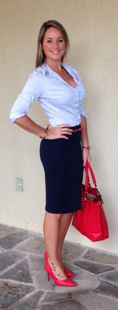 Look de trabalho - Look do dia - saia lápis - azul e vermelho - blue and red