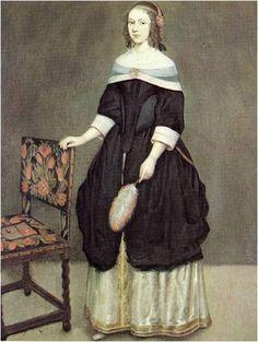 17세기 중기 바로크 시대의 의복을 입은 여성이다. 코르셋과 파팅게일을 벗고 자연스러운 실루엣을 추구했던 초기의 의상이 다시 바디스를 조이고 스커트 부풀리기 시작했다. 넓은 목둘레선과 부를 상징했던 검은 드레스가 부인의 귀족성과 고귀함을 부각시키는 듯 하다.
