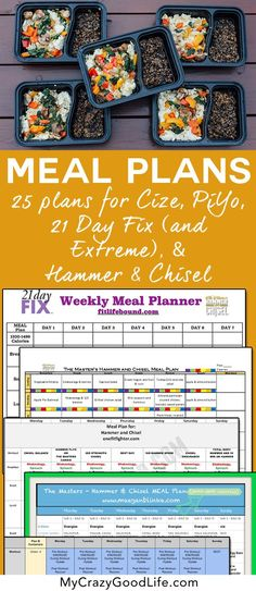 Meal Plans for 21 Day Fix, Hammer and Chisel, PiYo, and Cize