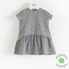 ROLO Organic Cotton Graphite Bubbles Baby and Girls  Dress