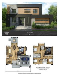 Modern House Plans 93461 New houses with flat roofs for sale - Construction Louis-Seize Modern House Floor Plans, Sims House Plans, Home Design Floor Plans, House Layout Plans, Dream House Plans, House Layouts, Modern House Design, Floor Design, Modern Home Plans