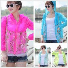 Chic Women Summer Sheer Rose Sun Protection Anti-UV Zipper Shirt Cardigan Blouse #Unbranded #Tshirt #Casual