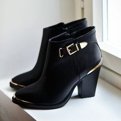 Black ankle boots gold trimming