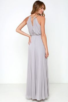 Everything will be a dream in the Bariano Melissa Light Grey Maxi Dress! Gold coil necklace supports a pleated chiffon bodice, with a maxi skirt below. Grey Maxi, Gray Dress, Fashion Pants, Fashion Outfits, Fashion Women, Women's Fashion, Short Lace Bridesmaid Dresses, Dresses For Sale, Fashion Spring