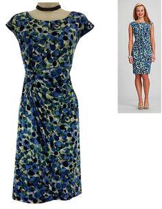 16W 1X XXL SEXY Womens BLUE ABSTRACT PRINT FAUX-WRAP DRESS Day/Evening PLUS SIZE #Dressbarn #FauxWrap #Versatile
