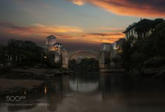 Burning Mostar by AlexGaflig  landscape lake sea travel europe ocean outdoor summer beautiful stars 500px sony mountain old town a