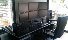 post by PC Builds & Setups! Gaming Room Setup, Computer Setup, Pc Setup, Desk Setup, Home Office Setup, Home Office Design, Trading Desk, Small Home Offices, Desk Inspiration