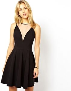 Image 1 of ASOS Mesh Insert Bengaline Skater Dress