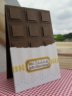 Chocolate Card...how cute!!!! >Pinner I took this from linked to the whole blog (rolls eyes), but I like the idea.