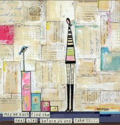 """""""Success is not a destination but a journey"""" Michelle Defilipo - I like that the background papers are in rectangles, the simplicity of the figures."""