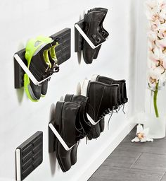 LoCa Knax Zjup Shoe Storage  If you don't know where to put those wet, slushy shoes, Germany's LoCa brand has an idea.  It's called the Knax Zjup—and it gives you wall-mounted, weatherproof shoe storage made of aluminum & rubber with a clean, industrial design.