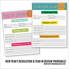 Printable New Year's Resolutions and Year in Review 2015 www.thirtyhandmadedays.com