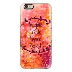 iPhone 6 Plus/6/5/5s/5c Case - IMAGINE CREATE INSPIRE REPEAT 2,... ($40) ❤ liked on Polyvore featuring accessories, tech accessories, iphone case, iphone cover case, apple iphone cases and slim iphone case