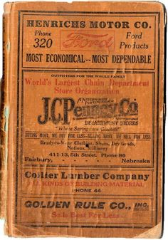1927 Fairbury Nebraska City Directory, Genealogy Research, Antique History Book, Business Directory, Street Guide, Hardcover, Advertising