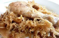 Zapekané kuracie stehná s kyslou kapustou 2-3-4.fáza Meat, Chicken, Food, Meals, Yemek, Buffalo Chicken, Eten, Rooster