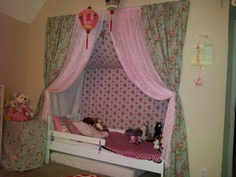 Toddler bed in closet. Must do this in boy version.