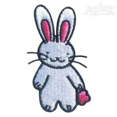 "Cute little Bunny Rabbit Embroidery Design. Size: 2.31"" x 1.34"""