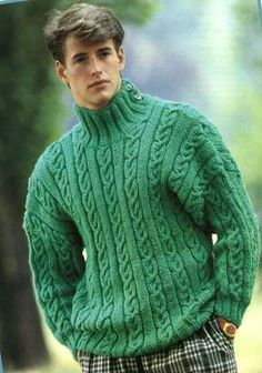 Men's Knitted Jumper Pattern PDF This Jumper is made up in green wool with a ribbed high neck, two buttons of side to fasten. Stocking stitch and cable stitch form overall pattern on Jumper. 1990s Fashion Trends, 80s Fashion Men, Fashion Stores, Womens Fashion, Fashion Boots, Disco Fashion, Punk Fashion, Fashion History, Fashion Clothes