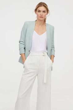 Gently tailored jacket in woven fabric with a metal fastener at the front, welt front pockets and sleeves with gathered seems. Blazer Outfits Casual, Mint Blazer Outfit, Green Jacket Outfit, Business Casual Outfits, Blazer Fashion, Women's Fashion, Mint Green Outfits, Mint Green Blazer, Professional Attire
