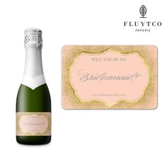 Will You Be My? - Set of 20 Gold Pink Wedding Mini Champagne Bottle & Gift Box Labels - Bridesmaid, Maid & Matron of Honor Proposal Gift- Engagement Party- Bridal Shower- Flower Girl - Ring bearer