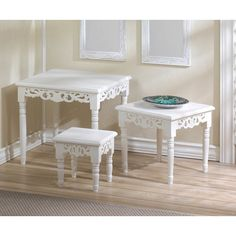 Zingz & Thingz Cottage Chic 3 Piece Nesting Accent Tables