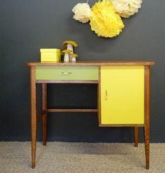 bureau vintage jaune et vert - Meubles et mobilier vintage restauré, relooké   Design Rétro chic