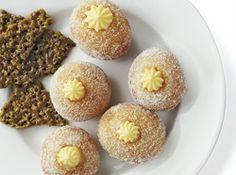 Lemon Cream Bomboloni with Rhubarb Chutney and Pistachio Florentines ...