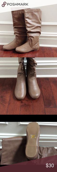 Taupe Mid-Calf Slouch Boots, NIB, Size 6 Adorable and fashionable NIB taupe faux leather size 6 flat slouch boots.  Shaft measures approx. 15 inches.  Rounded toe.  Perfect to pair with leggings or skinnies this winter :) Shoes Winter & Rain Boots