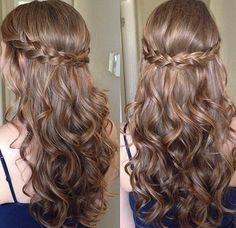 Pretty braid flowing out into curls. #love