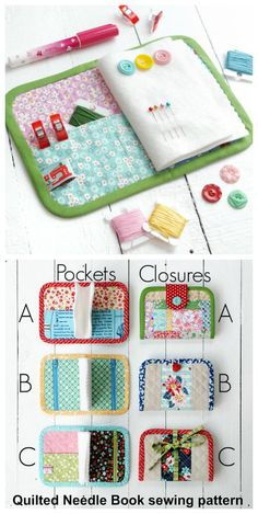 Sewing pattern for a needle book. This pins and needles book sewing pattern comes in several different sizes and has opt Sewing Case, Sewing Box, Hand Sewing, Sewing Hacks, Sewing Tutorials, Sewing Crafts, Sewing Tips, Needle Case, Needle Book