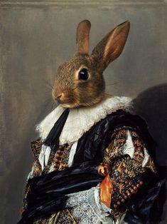 Royal Animals, Royal Art, Surrealism Painting, Rabbit Art, Bunny Art, Animal Party, Whimsical Art, Fantasy Creatures, Watercolor Illustration