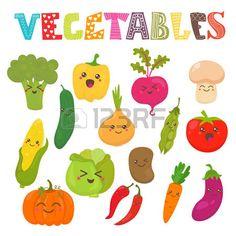 papas dibujo: Kawaii lindo sonriendo verduras. Colección estilo saludable…