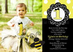 Bumble Bee Birthday Party Invitations Bumble Bee Birthday Invitation Bumble Bee Invites Printable Digital Photo. $15.00, via Etsy.