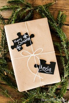 chalkboard puzzle piece gift tags, chalkboard paint, christmas decorations, crafts, seasonal holiday decor