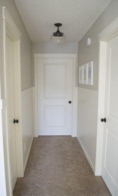 Add Craftsman Style Trim To Your Builder Grade Doors! Add Craftsman Style Trim To Your Builder Grade Doors hallway lighting Home Design, Design Ideas, Home Renovation, Home Remodeling, Bedroom Remodeling, Upstairs Hallway, Sweet Home, Hallway Lighting, Hallway Light Fixtures