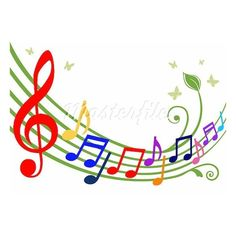 Music theme dancing colorful notes on white background. Full scalable... ❤ liked on Polyvore