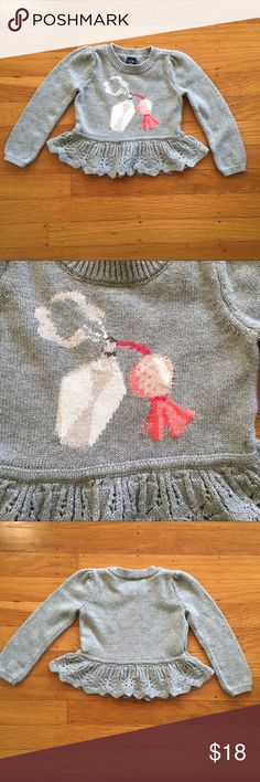 Baby Gap sweater Grey cropped peplum sweater with fancy perfume bottle print! GAP Shirts & Tops Sweaters