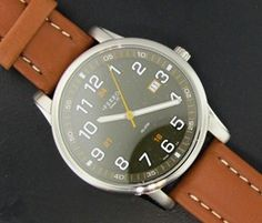 Ferro Jewelers - Watches   MENS ESPRESSO AND TAN LEATHER EASY READER WATCH