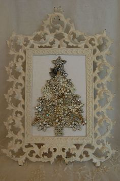 Vintage Jewelry Framed Christmas Tree ♥ Sparkling Crystals Pearls Angel ♥ WOW | eBay