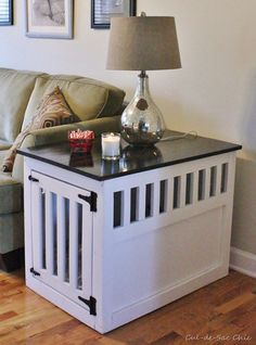 Build a Dog House with One of These 15 Free Plans : Build a Dog House with One of These Free Plans: Indoor Dog Kennel End Table from Ana-White Dog Kennel End Table, Dog Crate End Table, Diy Dog Crate, Diy Dog Kennel, Dog Kennels, Kennel Ideas, Coffee Table Dog Crate, Cat Crate, Puppy Crate