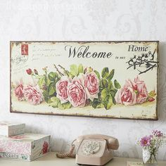 Giant Roses Welcome Canvas