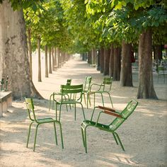 Chairs from the Luxembough series by Fermob, here in Tuileries, Paris, France Jardin Des Tuileries, Parks, Little Paris, Parisian Apartment, Belle Villa, Paris Ville, Street Furniture, Menorca, Secret Gardens