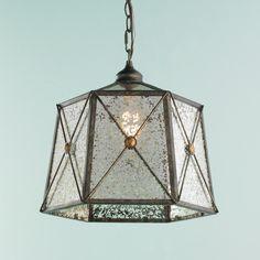 "Timeless Reflections Lattice Lantern (15""Hx14.25""W) 5.5""x6.25"" hexagonal canopy. 7' antique gold chain, 10' brown wire."