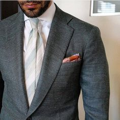 MANOLO COSTA - Stone gray linen suit, + striped linen tie in beige, cream, and taupe