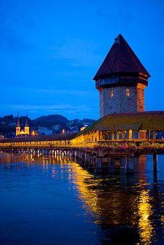 Lucerne and the Chapel Bridge at twilight, Switzerland