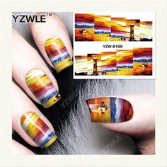 YZWLE 1 Sheet DIY Decals Nails Art Water Transfer Printing Stickers Accessories For Manicure Salon YZW-8169 #Affiliate
