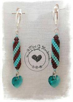 Earrings handmade Swarovski Miyuki Pendientes tubular miyuki bead availablepeyute stich