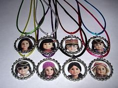 8 American Girl Doll Theme Party Supply Bottle Cap Favors Necklace Color Cords | eBay