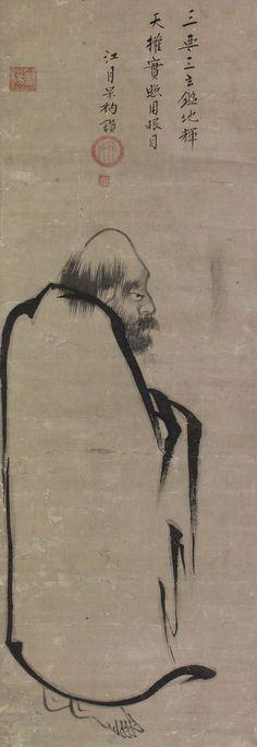 Bodhidharma by attrib.Sesshū Tōyō (1431-1506):